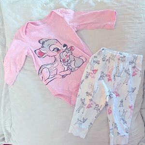 Disney Bambi and Thumper Pajamas Size 6 Months